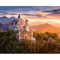 Замок в лучах заката, цветной холст
