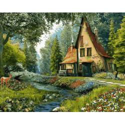 Дом на опушке леса, цветной холст