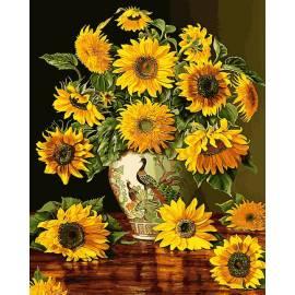 Подсолнухи в вазе с павлинами, цветной холст