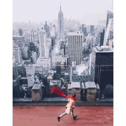 красный шарф в Нью-Йорке