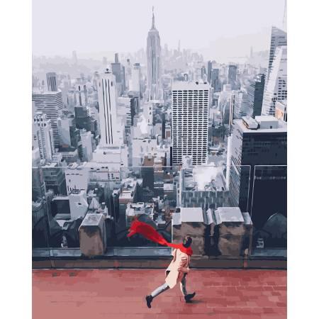 Картина по номерам красный шарф в Нью-Йорке GX26281, Rainbow Art