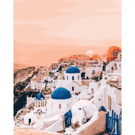 Картина по номерам Пламя Санторини, Цветной холст  PGX26288, Rainbow Art