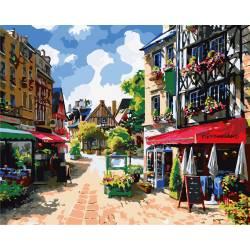 Летняя улица, цветной холст