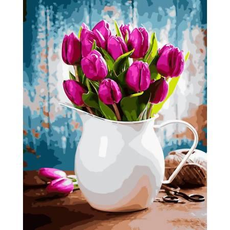 Картина по номерам Сочные тюльпаны в вазе GX31612, Rainbow Art