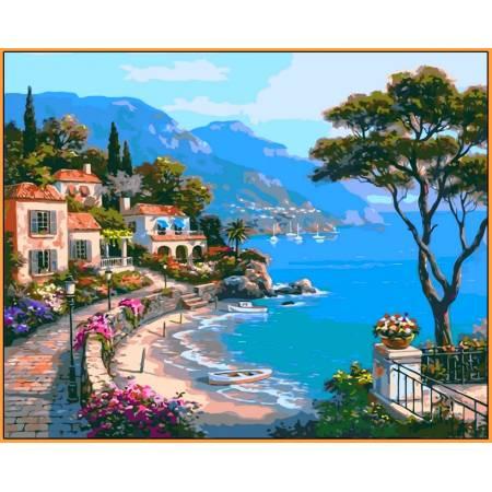 Картина по номерам Райский уголок Babylon  - в раме, цветной холст NB003R, Babylon Premium