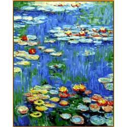 Водяные лилии Babylon - в раме, цветной холст