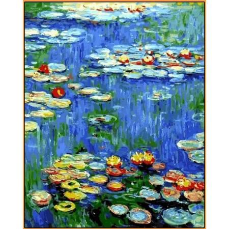 Картина по номерам Водяные лилии Babylon  - в раме, цветной холст NB1103R, Babylon Premium
