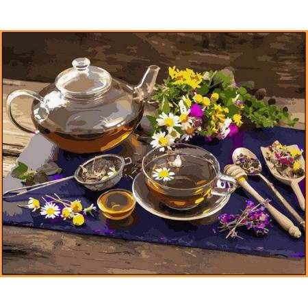 Картина по номерам Чай с мёдом Babylon  - в раме, цветной холст NB1136R, Babylon Premium