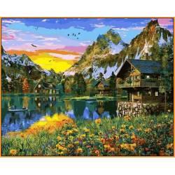 Деревня у горного озера Babylon - в раме, цветной холст