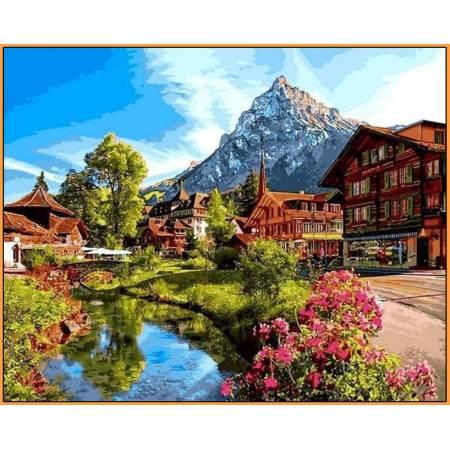 Картина по номерам Альпийский городок Babylon  - в раме, цветной холст NB1147R, Babylon Premium