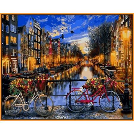 Картина по номерам Вечерний Амстердам в красках NB1148R, Babylon Premium