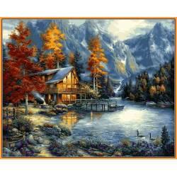 Домик в горах, цветной холст