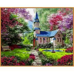 Замок в цветущем саду, цветной холст