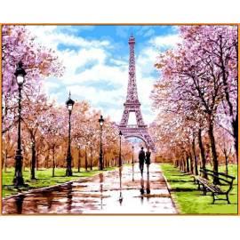 Апрель в Париже Babylon - в раме, цветной холст
