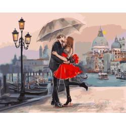 Пара в Венеции, цветной холст