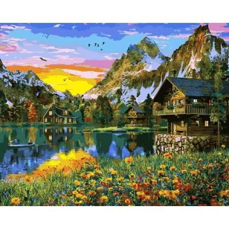 Картина по номерам Деревня у горного озера 2 VP1145, Babylon