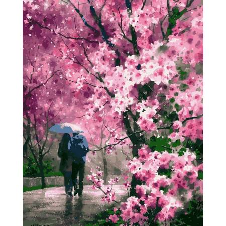 Картина по номерам Сакура под дождем VP1170, Babylon