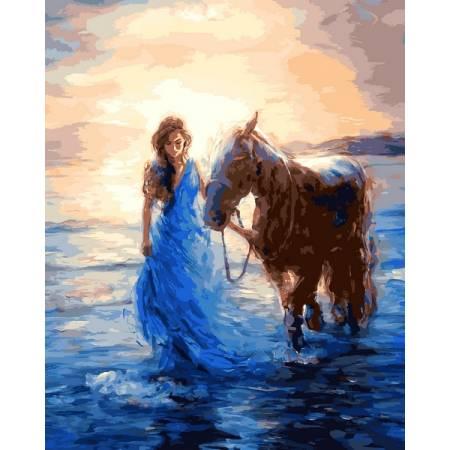 Картина по номерам Прогулка с лошадью VP1207, Babylon