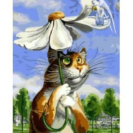 Котик с ромашкой