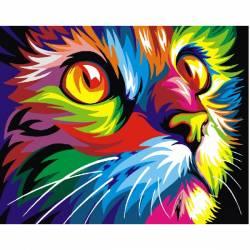 Радужная кот, цветной холст