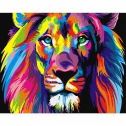 Радужный лев, цветной холст
