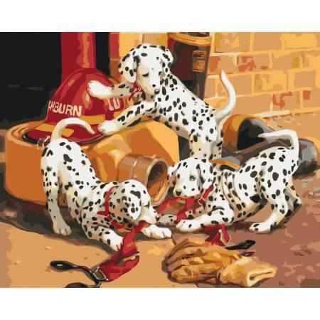 Картина по номерам «Игривые далматинцы », модель KHO4053