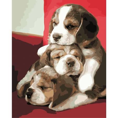 Картина по номерам Милые щенки  AS0872, ArtStory