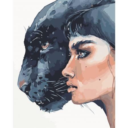 Картина по номерам Девушка и пантера AS0893, ArtStory