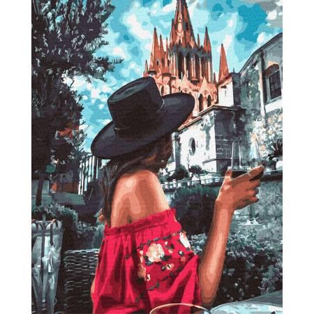 Картина по номерам Девушка в черной шляпе  GX32985, Rainbow Art