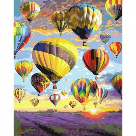 Картина по номерам Воздушные шары над лавандовым полем  GX28734, Rainbow Art