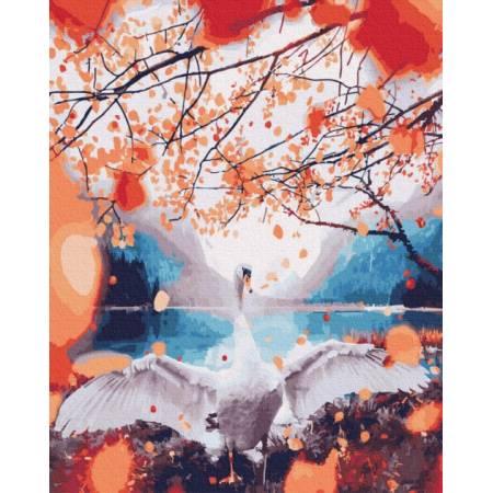 Картина по номерам Лебедь в золотых листьях  GX25438, Rainbow Art
