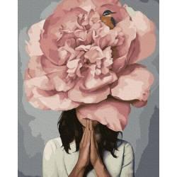 Девушка розовый пион премиум, цветной холст