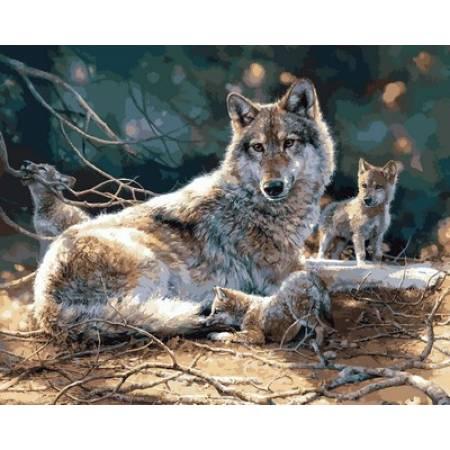 Картина по номерам «Волчата», модель Q2120