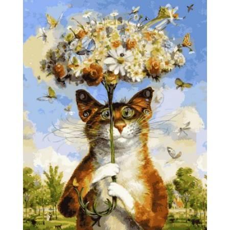 Картина по номерам « Ушастик с цветочками Худ. Владимир Румянцев », модель Q2124