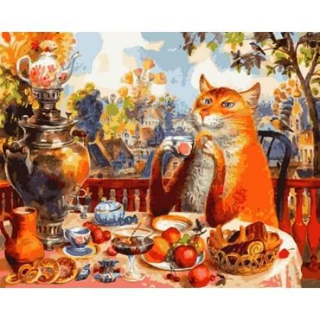Картина по номерам « Кошачье чаепитие Худ. Владимир Румянцев », модель Q2127