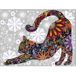 Цветочный кот потягивающийся