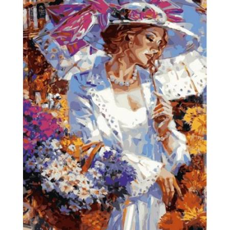 Картина по номерам Дама с цветами VP633, Babylon