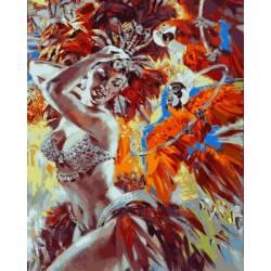 Танцовщица и яркие попугаи