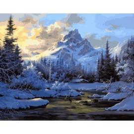 Горное озеро зимой