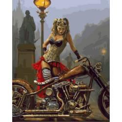 Мотоцикл и девушка в стиле стимпанк