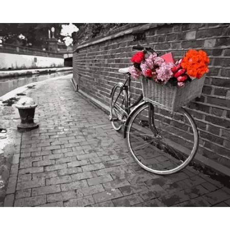 Картина по номерам Велосипед с цветочной корзиной VP695, Babylon