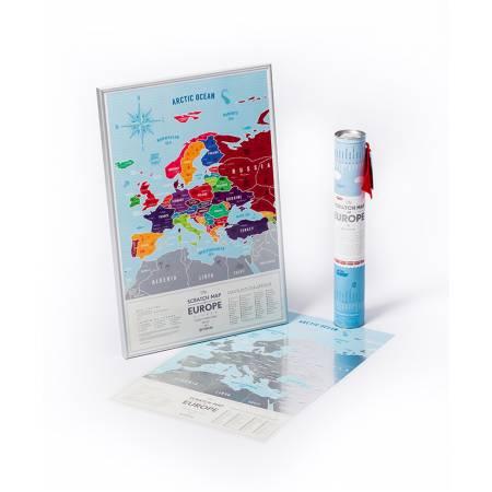 """Картина по номерам Скретч-карта Европы """"Silver"""" (англязык) (MP005), Travel Map"""