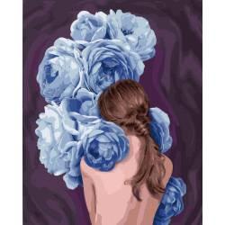 Девушка в синих пионах