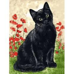 Зеленоглазая кошка в цветах