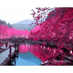 Сакура возле озера