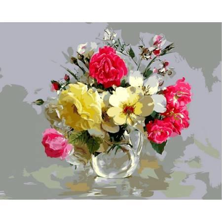 Картина по номерам «Букет из шиповника и полевых цветов», модель VP329