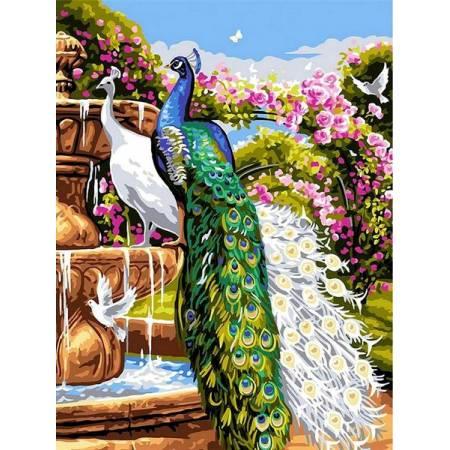 Картина по номерам Сад с павлинами VK263, Babylon
