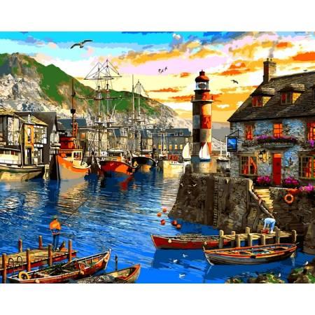 Картина по номерам Восход солнца в порту VP1279, Babylon