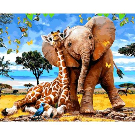 Картина по номерам Слоненок и жираф VP1318, Babylon