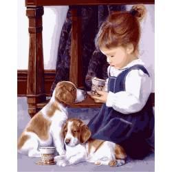 Девочка с щенятами